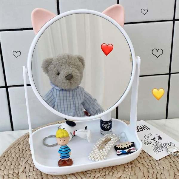 Gương tai mèo, tai thỏ mini để bàn cực xinh, gương để bàn, gương mini cho các nàng, gương để bàn mini