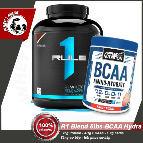 [COMBO] Tăng Cơ Bắp Hồi Phục Cơ Chống Dị Hóa Cơ RULE1 Blend 5lbs - BCAA Hydrate Amino 32 servings - Từ USA