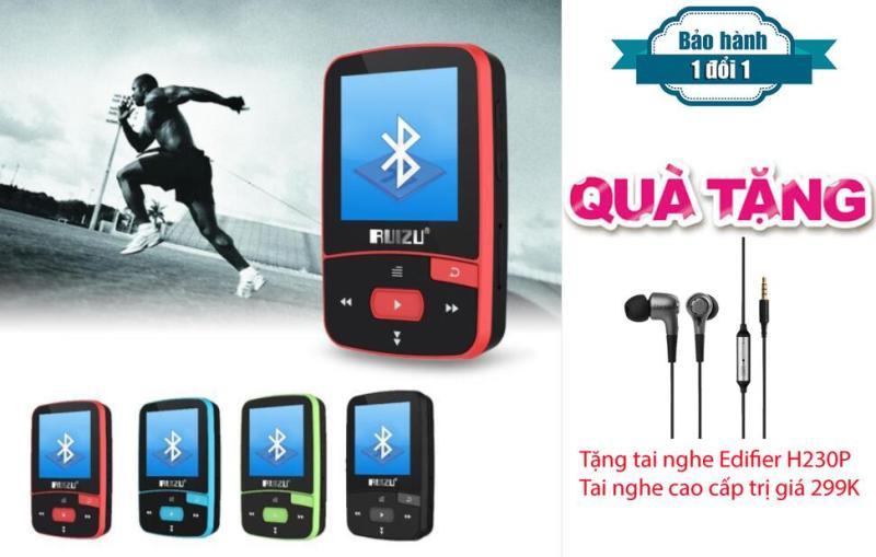 Máy nghe nhạc MP3/MP4 thể thao bluetooth  Ruizu X50 - Mini Sport Mp3 + Tai nghe Kiểm âm cao cấp Edifier H230P