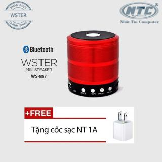[HCM]Loa Bluetooth Wster WS-887 hỗ trợ USB thẻ nhớ FM AUX (Nâu đỏ) + Tặng 1 cốc sạc - Nhất Tín Computer thumbnail