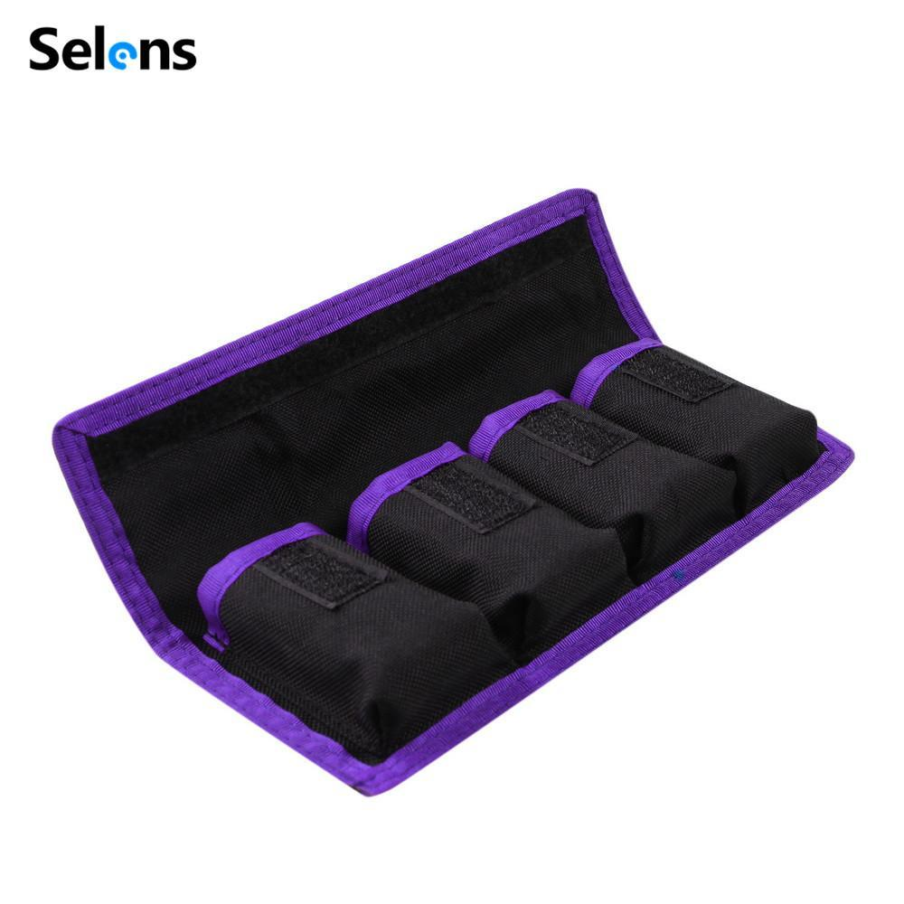 Giá Tiết Kiệm Để Sở Hữu Ngay Selens Lithium Battery Storage Pouch For Canon LP-E6 LP-E8 Sony NP-FW50 EN-EL14 EN-EL15 4 Pockets Waterproofed Nylon Bag