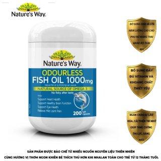 Viên dầu cá không mùi giúp tăng cường thể lực phát triển trí não,tăng cường hệ miễn dịch Odourless Fish Oil 1000mg 200 viên thumbnail