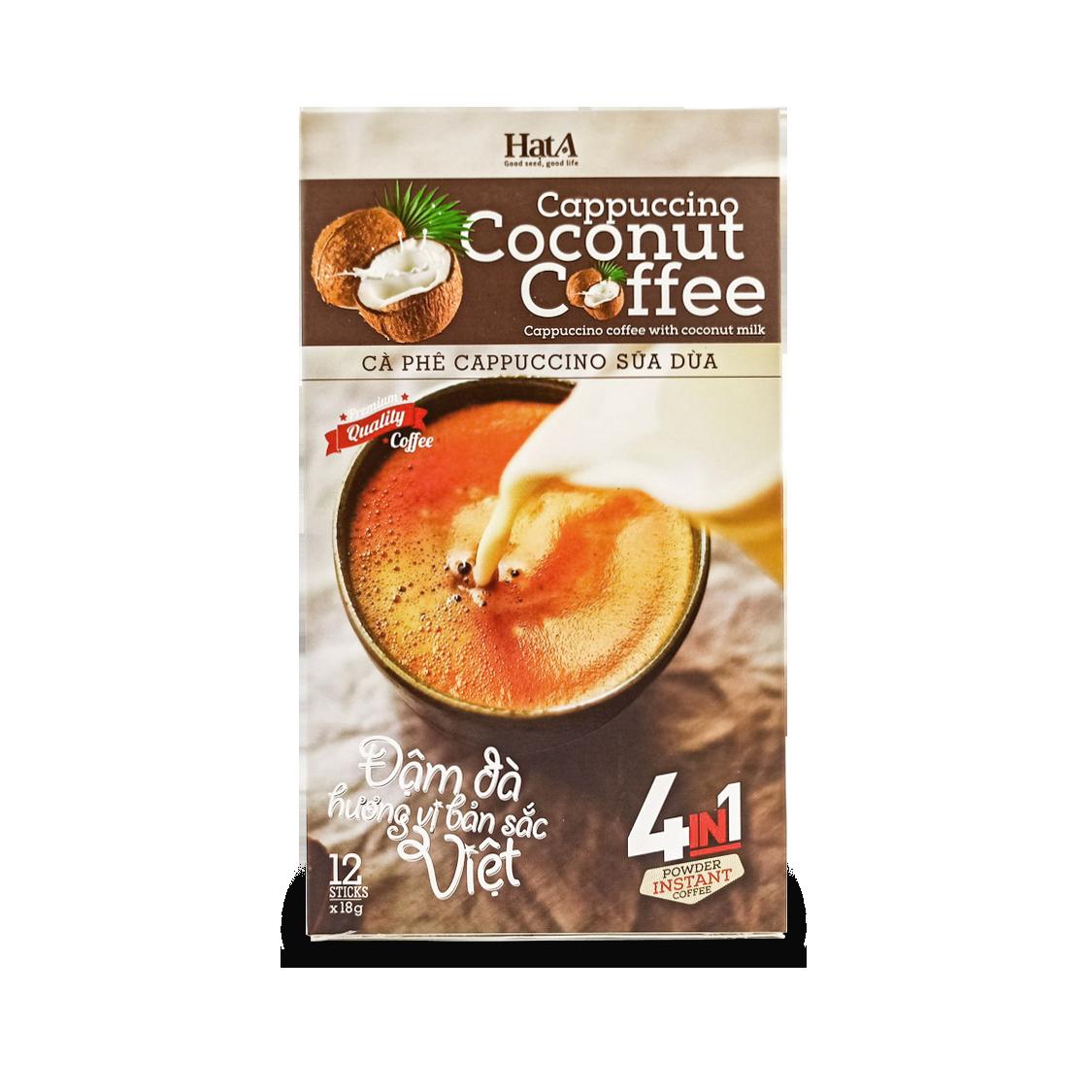 Cà Phê Hòa Tan Cappuccino Sữa Dừa 4 In 1 Hạt A Cafe Vị Cốt Dừa Tự Nhiên - 216g/ 12 Gói Khuyến Mãi Sốc