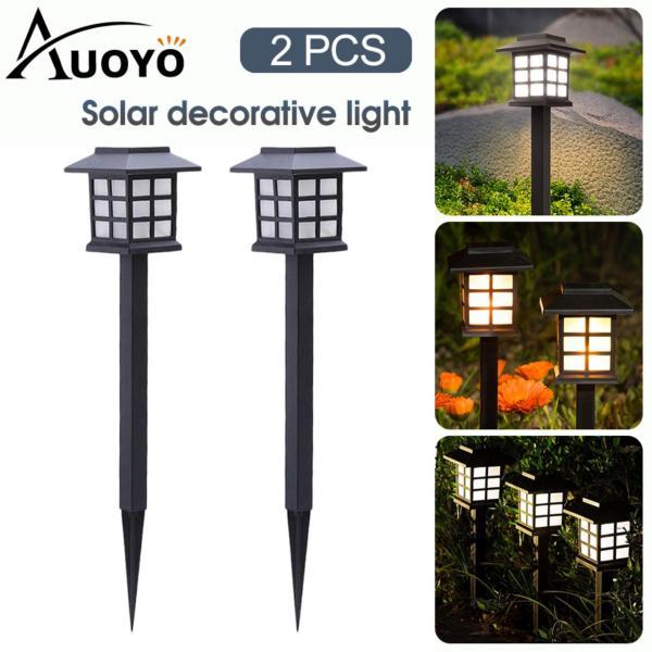 Đèn LED Auoyo 2 bóng đèn Led  Đèn Chiếu Sáng Ngoài Trời hình đèn lồng trang trí sử dụng năng lượng mặt trời thiết kế đơn giản tuổi thọ cao chống thấm IP44 dễ lắp đặt tiết kiệm năng lượng dùng ngoài trời/ sân v