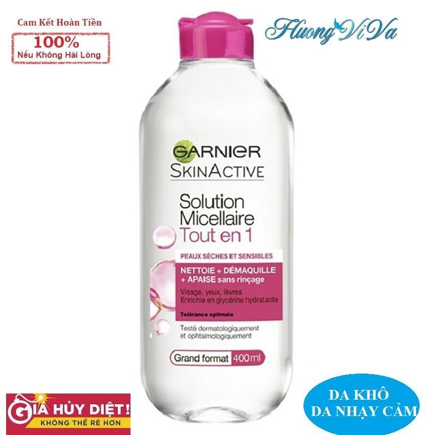 (BẢN PHÁP) Nước Tẩy Trang Garnier Skin Active Solution Micellaire 400ml màu hồng đậm (cho da khô, nhạy cảm), Nước Tẩy Trang Garnier, Nước Tẩy Trang Không Cồn, Nước Tẩy Trang Cho Da Mụn nhạy cảm - {Huongviva} chính hãng