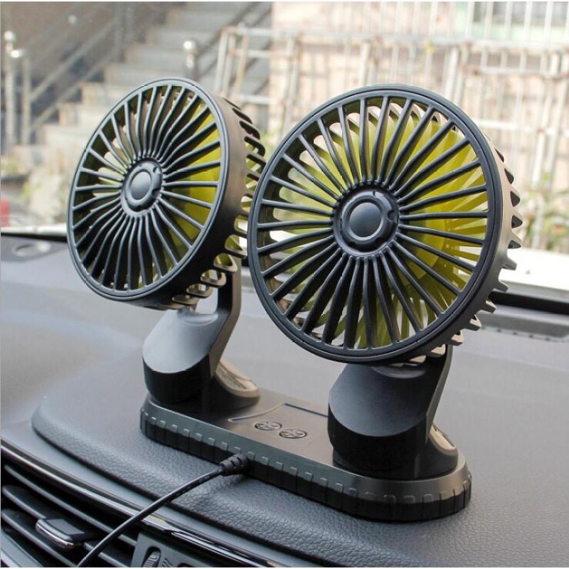 Quạt đôi mini, quạt làm mát không khí, quạt điều hòa, quạt điện xoay 360 độ trên ô tô, xe hơi, bàn làm việc (loại mới nhất)