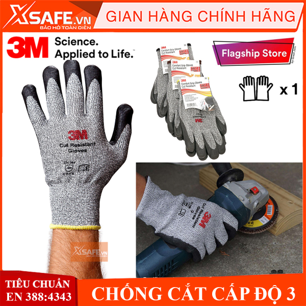 Găng tay chống cắt 3M cấp độ 3 độ khéo léo cao, phủ nitril chống dầu nhớt, bảo tay bảo hộ chuyên dụng cho cơ khí, kỹ thuật, làm việc với tôn, sắt, thủy tinh - Sản phẩm chính hãng XSAFE