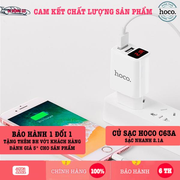 Củ Sạc Nhanh Hoco C63A 2 Đầu USB, LED Hiển Thị Thông Minh [CHÍNH HÃNG]