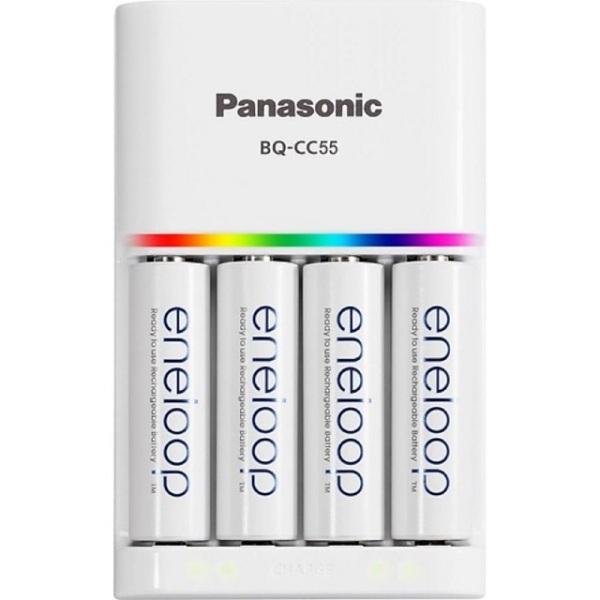 Giá Bộ Sạc Nhanh Thông Minh Tự Ngắt Panasonic Eneloop BQ CC55 kèm 4 pin - Tặng Kèm Hộp Đựng Pin ( Sạc Được Pin Sạc AA và Pin Sạc AAA )