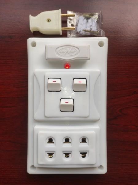 Bảng điện (Giả Âm) CAO CẤP + BH 01 năm + 03 Công tắc + Ổ cắm nhíp chống giãn + Công suất 2000W + Cầu chì chống quá tải + Đèn LED báo + Đi dây sẵn sàng đầy đủ + Bộ ốc vít lắp đặt (bộ 01 sản phẩm) giá rẻ