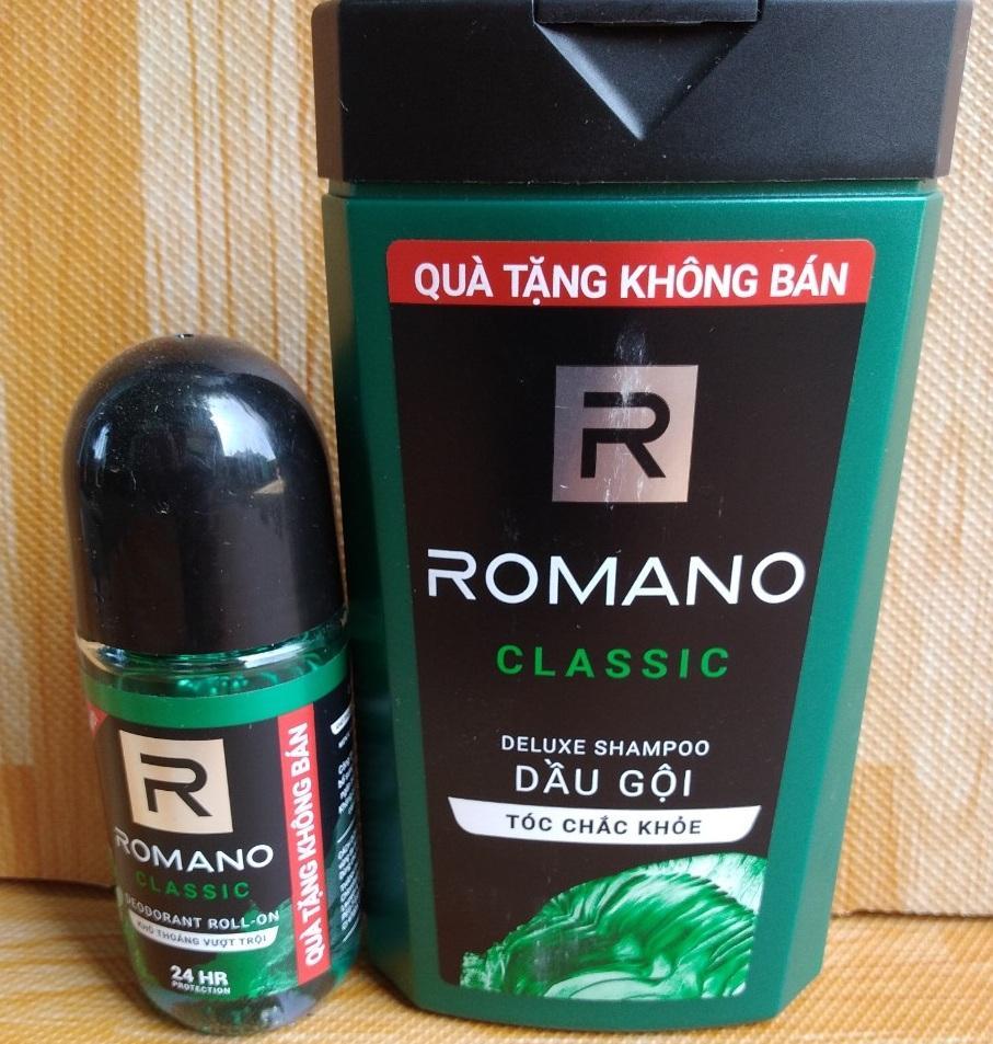 Chuẩn soái Ca với ; 1 Dầu Gội Đầu Hương Nước Hoa Romano 150g, 1 Lăn Khử Mùi Romano 40ml