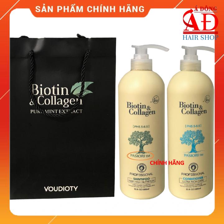 Bộ dầu gội xả Biotin collagen trắng phục hồi ngăn rụng kích thích mọc tóc 1000mlx2