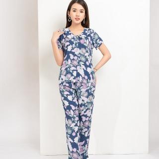 Bộ mặc nhà quần dài áo cộc tay nữ Việt Thắng B08.2015 - Chất liệu lanh mềm mại, thấm hút, mặc thoải mái thumbnail