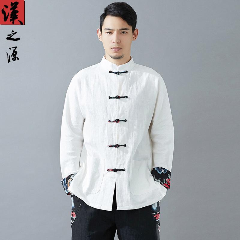 Phong Cách Trung Quốc Nam Cây Đay Tang Phù Hợp Với Áo Sơ Mi Phong Cách Trung Hoa Cardigan Nút Cổ Áo Áo Sơ Mi Thanh Niên Phục Cổ Thường Đồ Nam Triều