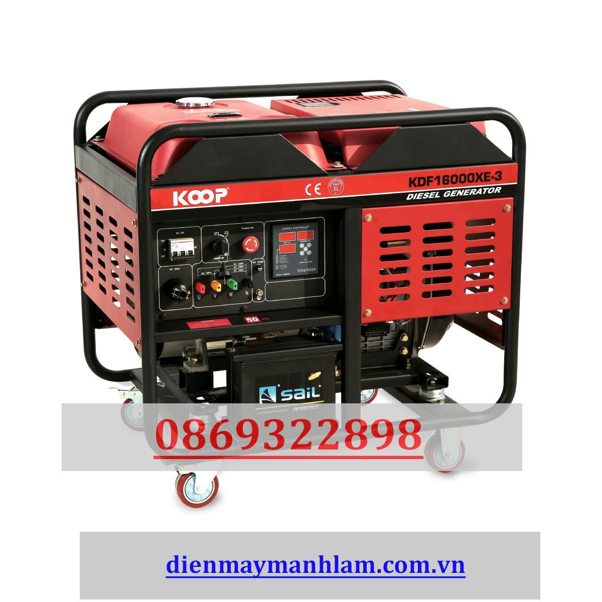 Máy phát điện chạy dầu 12kw 3 pha Nhật Bản KOOP 16000EX - 3 pha không tủ chống ồn