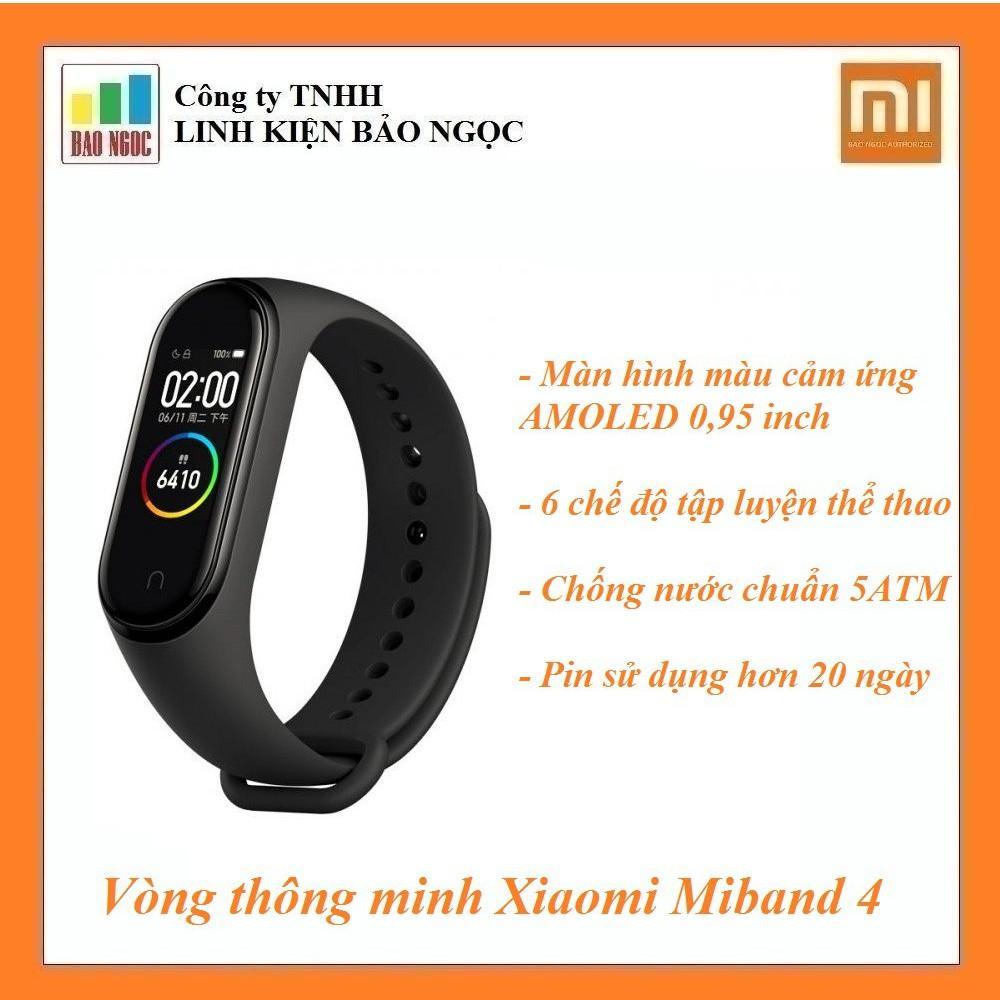 Vòng thông minh Xiaomi Miband 4 - Theo dõi sức khỏe, màn hình cảm ứng Amoled, pin 20 ngày, chống nước chuẩn 5ATM