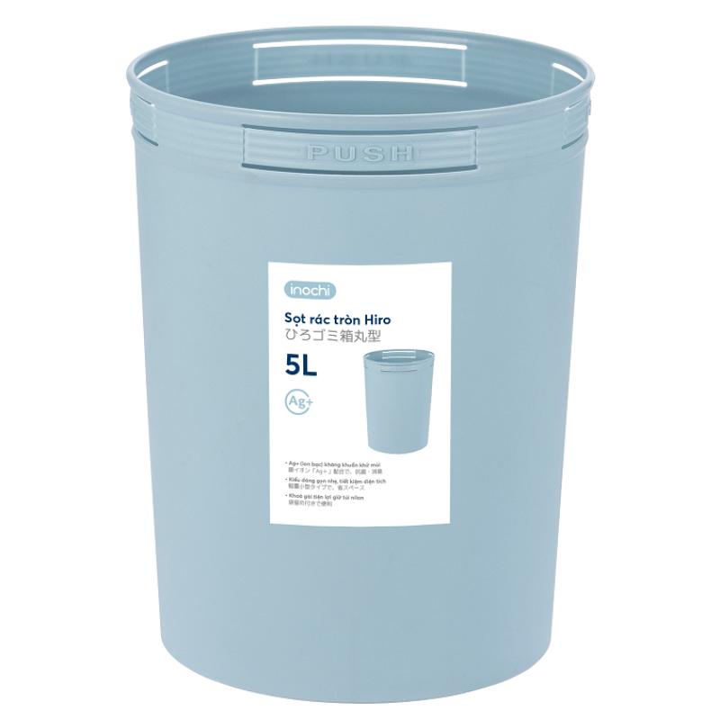 Sọt rác kháng khuẩn Hiro 5L hàng xuất Nhật Bản, Nhựa PP nguyên sinh khử mùi, An toàn sức khỏe
