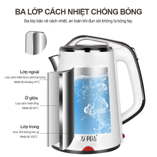 Bình đun nước siêu tốc thông minh, có chế độ giữ nhiệt 24h và tự ngắt, dung tích lơn 2.3lít