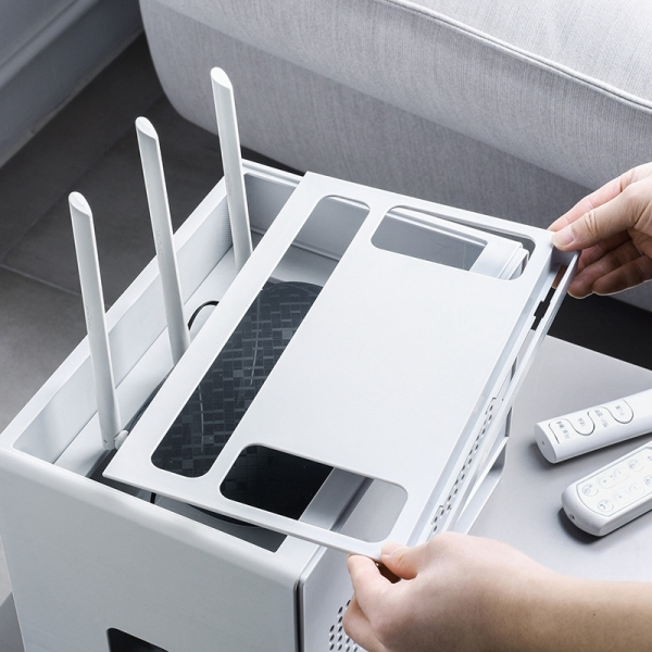 Bảng giá Double Layers Drawer Type Wireless WIFI Router Storage Box Cable Power Plug Wire Basket Storage Organizer Phong Vũ