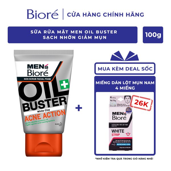 Sữa Rửa Mặt Men Biore Oil Buster Sạch Nhờn Giảm Mụn 100g