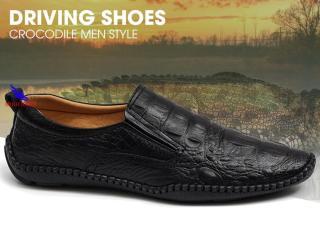 Giày lười Nam Da Bò Thật Vân Cá Sấu Siêu Mềm S-6 màu đen thumbnail