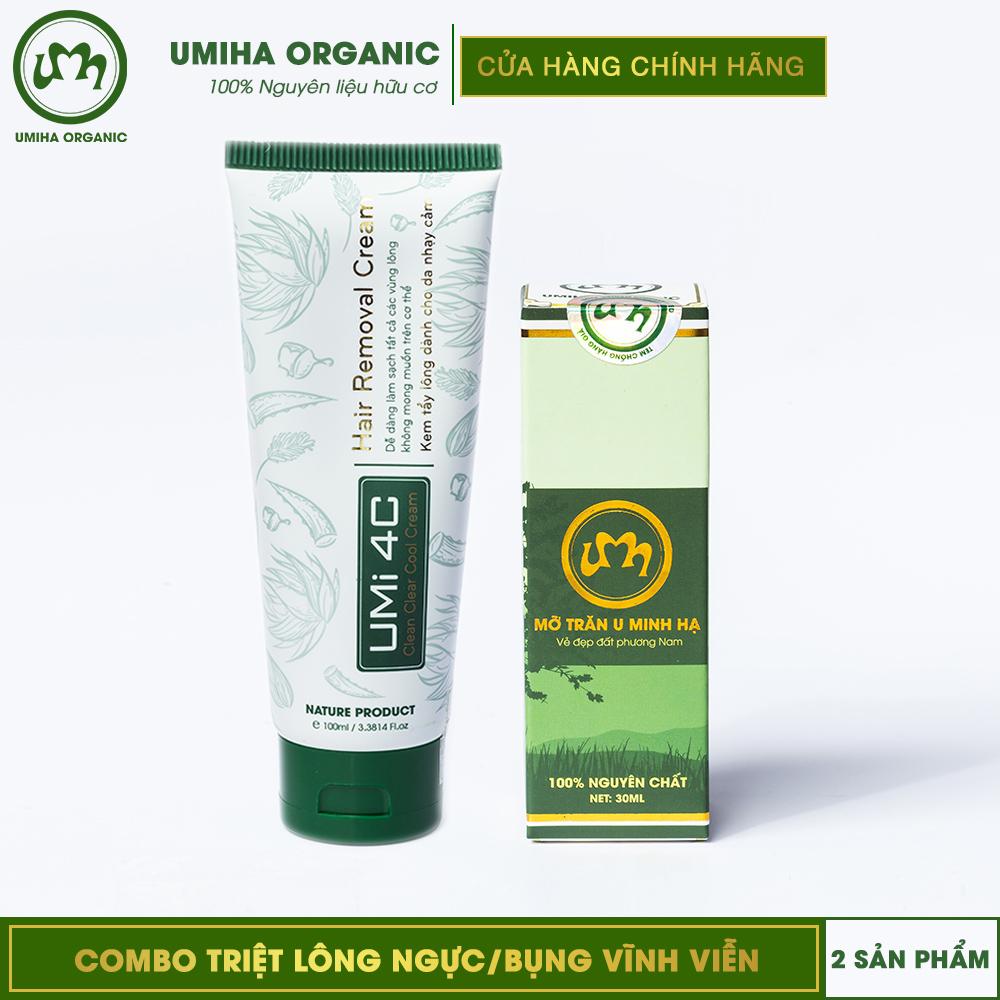 COMBO TẨY TRIỆT LÔNG NGỰC/BỤNG VĨNH VIỄN UMISKIN | Mỡ trăn triệt lông vĩnh viễn U Minh Hạ | An toàn cho da nhạy cảm | Sản phẩm chính hãng độc quyền nhập khẩu