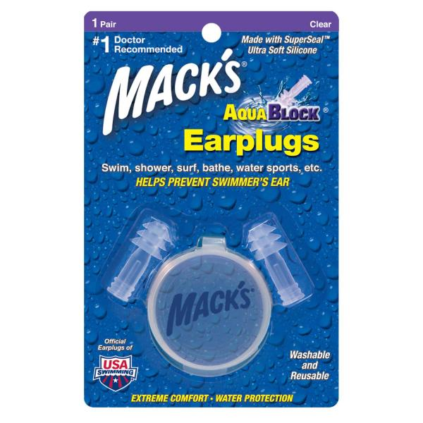 Hộp 1 đôi nút bịt tai chống nước Macks Aqua Block (Màu Trong – #1131) Nhập khẩu Mỹ (Hàng bị móp vỏ hộp, các chức năng sản phẩm vẫn bình thường)
