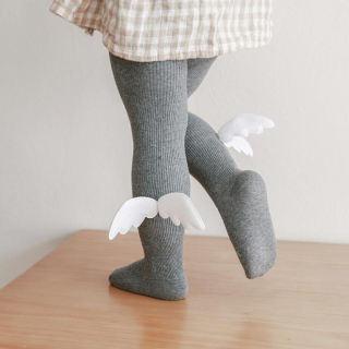 Đáng Yêu Đôi Cánh Thiên Thần Bé Vớ, Quần Tất Cotton Mềm Cho Bé Gái Quần Tất Mùa Xuân Ấm Áp Quần Tất Trẻ Em Trẻ Sơ Sinh Màu Trơn, Hàng Dệt Kim