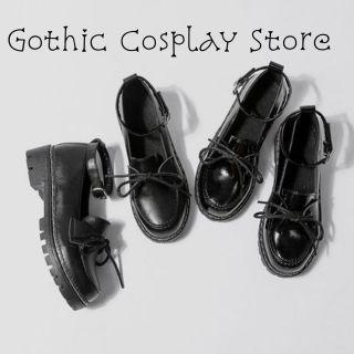 🍁 Giày búp bê lolita dây nơ Mary Jeans ( nhám và bóng ) Gothic Cosplay Store