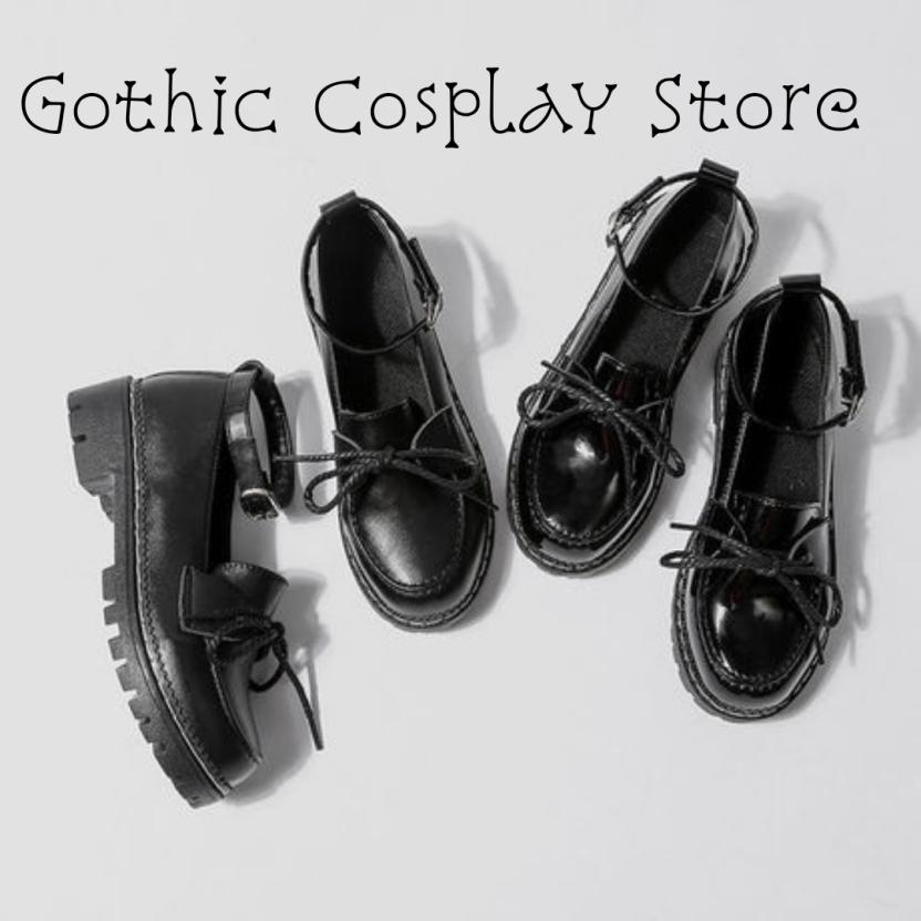 🍁 Giày búp bê lolita dây nơ Mary Jeans ( nhám và bóng ) Gothic Cosplay Store giá rẻ