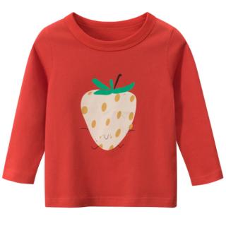 A015 Áo thun tay dài bé gái 27Home chất liệu cotton in hình DÂU TÂY (ĐỎ) cho bé từ 10-33kg (2 tuổi -10 tuổi ) an toàn mềm mịn thích hợp cho bé đi học đi chơi