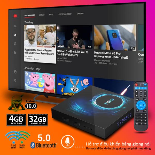 Android TV Box T95 độ phân giải 6K HDR, Ram 4GB, bộ nhớ trong lên tới 32GB,hỗ trợ bluetooth HĐH Android 10, cổng AV, 2 cổng USB, khe thẻ nhớ TF - Bảo hành 12 tháng