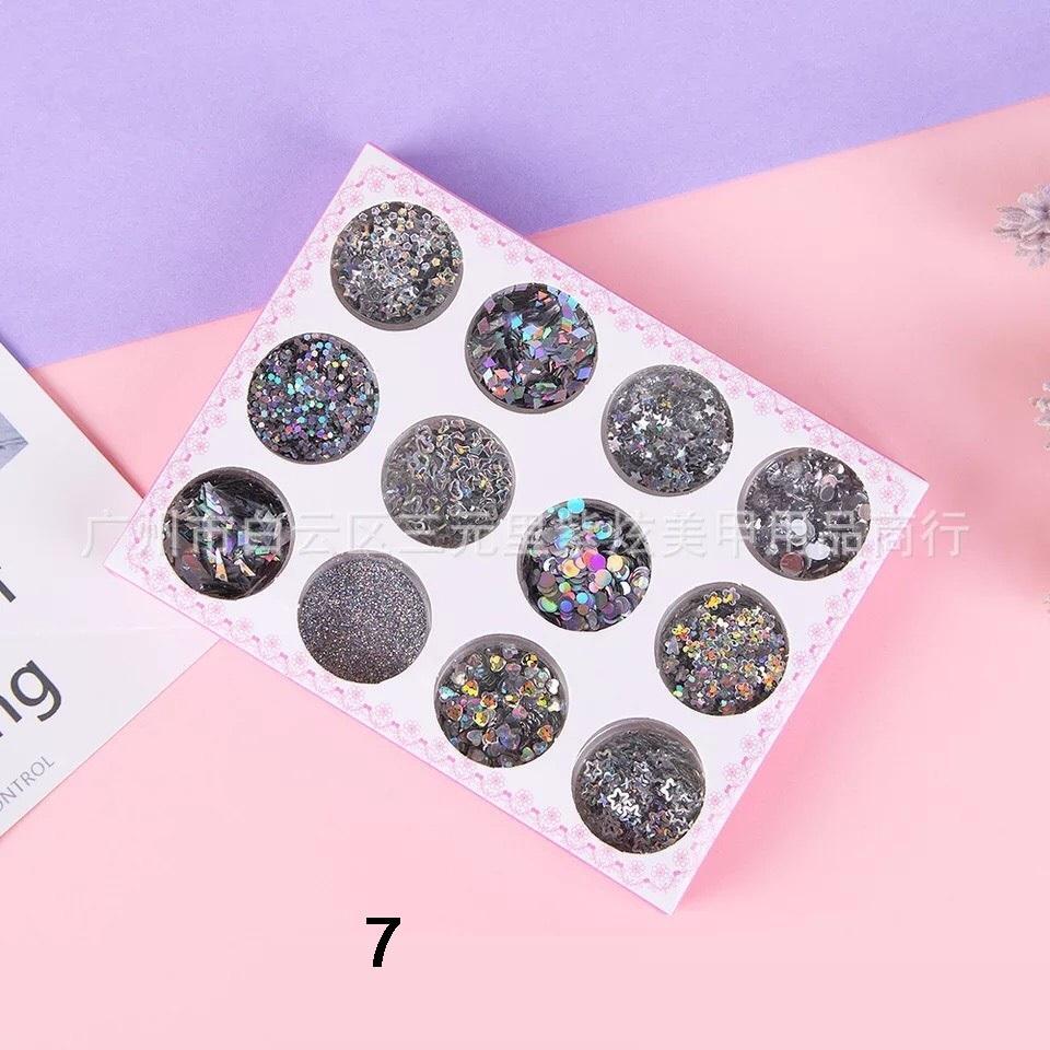 Set 12 Hũ Glitter Nhũ Kim Tuyến Kira Kira Makeup Lấp Lánh Phong Cách Hàn Quốc - VANI STORE