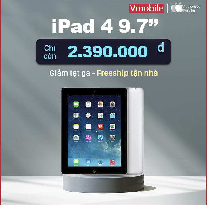 [Trả góp 0%]Máy tính bảng iPad 4 Quốc tế Tặng chân đế cáp sạc Bảo hành 6 tháng 1 đổi 1 tại nhà trong 30 ngày