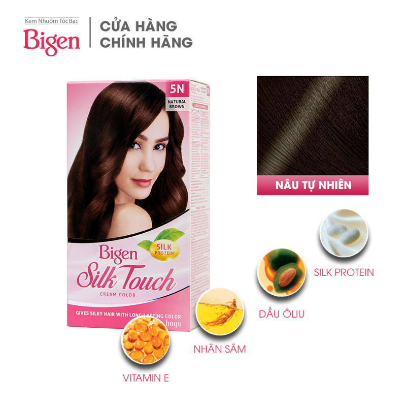 Thuốc nhuộm dưỡng tóc phủ bạc thảo dược Bigen Silk Touch Thương hiệu Nhật Bản Sắc Màu trẻ trung 80ml dạng kem - Nâu Tự Nhiên 5N nhập khẩu