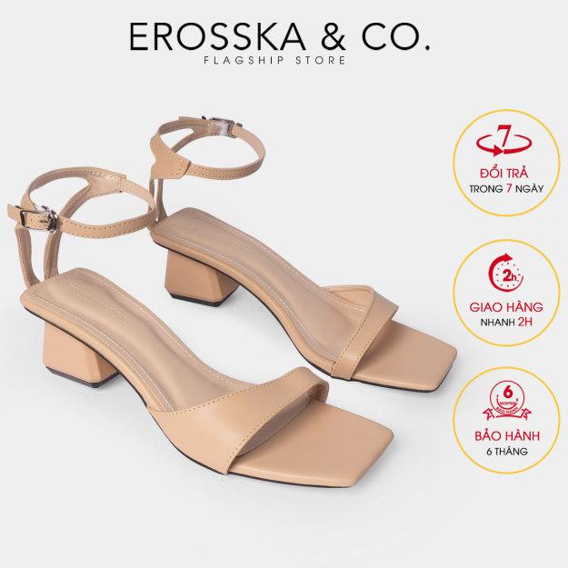 Giày sandal cao gót Erosska mũi vuông phối dây mảnh quai ngang cao 3cm EB032 (NU) giá rẻ