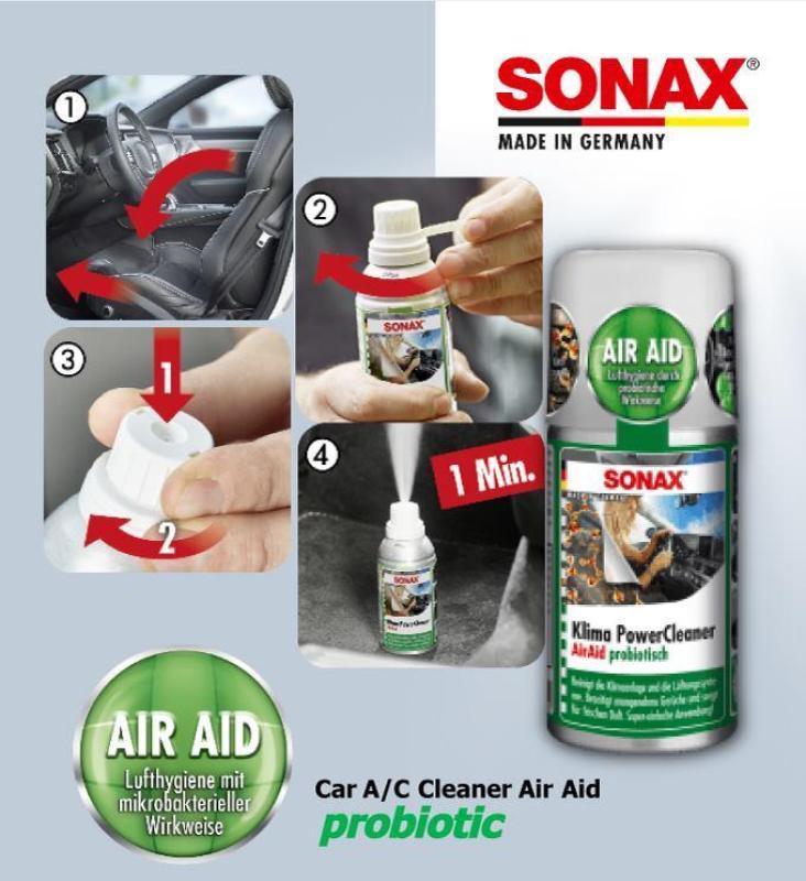 Khử mùi, diệt nấm mốc dàn lạnh ô tô - Sonax a/c cleaner (Thế hệ mới)