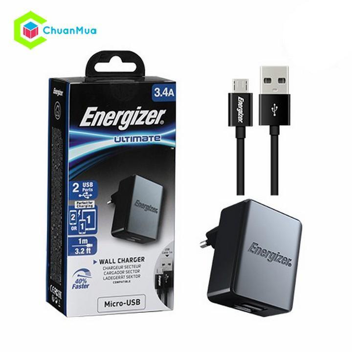 Cốc sạc 2 cổng USB Energizer 3.4A kèm cáp Type C - PKA177