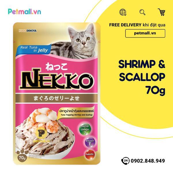 Pate mèo NEKKO Cá Ngừ & Shrimp 70g - 1 hộp 12 gói