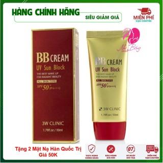Kem Nền Trang Điểm - Kem Che Khuyết Điểm Chống Nắng Bb Cream Uv Sun Block 3W Clinic Hàn Quốc 50Ml thumbnail