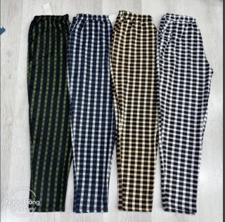Quần dài nữ sọc caro Quân sọc caro đẹp vải thun xốp dày dặn co giãn freesize từ 43kg đén 60kg thumbnail
