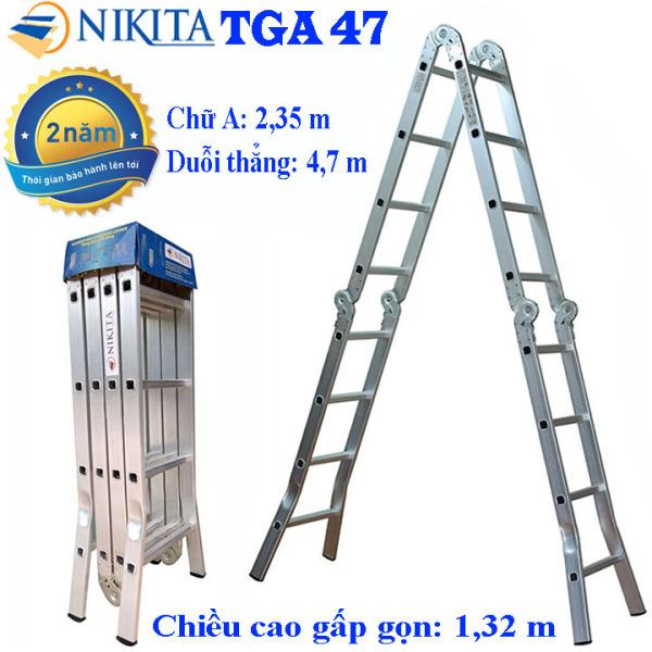 Thang nhôm gấp 4 đoạn Nikita TGA47/GA47 - Chữ A 2,35m duỗi hẳng 4,7m, Công nghệ dập của Đức, Tải trọng 150 kg, Độ dày của nhôm 1.5mm Trang bị: Đế cao su chống trơn trượt