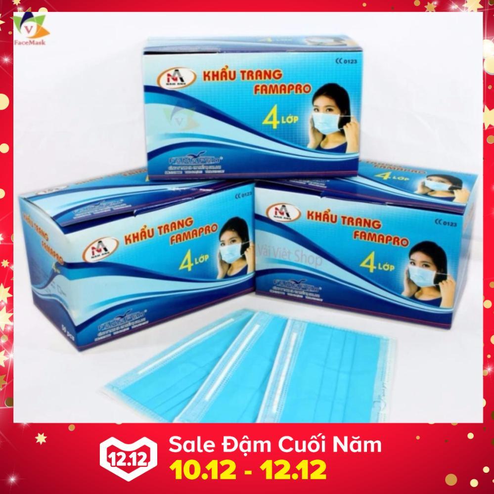 Hình ảnh Bộ 10 hộp khẩu trang y tế 100% vải lọc 4 lớp Nam Anh Famapro (Xanh)