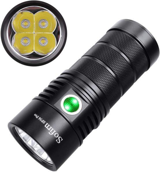 Đèn pin siêu sáng SOFIRN SP36 PRO LED SST40 độ sáng 8000 lumen chiếu xa 450m cổng sạc Type-C sử dụng 3 pin 18650 (kèm theo)