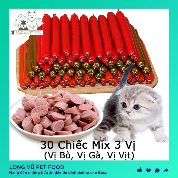Xúc xích cho thú cưng dinh dưỡng 30 thanh (Túi 30 chiếc - khối lượng 450g) - Thức ăn cho chó, thức ăn cho mèo