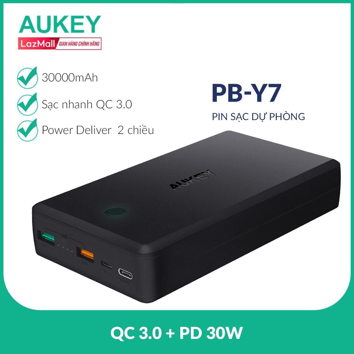 Pin Sạc Dự Phòng 30.000 mAh Aukey PB-Y7, 1 Cổng Quick Charge 3.0, 1 Cổng Power Delivery 30W, 1 Cổng AiPower - Nhà Phân Phối Chính Thức