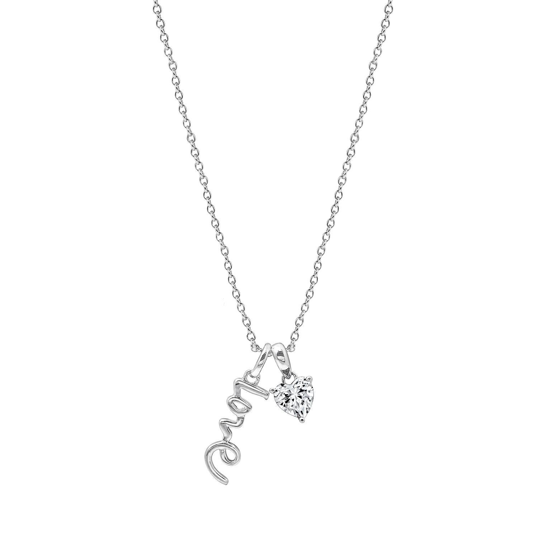 Dây chuyền White Heart Love Jadmire bạc Ý 925 cao cấp mạ Platinum đính đá Swarovski®  trắng