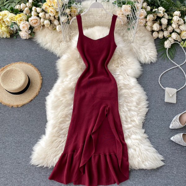 2020 Mẫu Mới Nữ Thần Khí Chất Dệt Kim Váy Lễ Phục Cổ Chữ V Hở Lưng Tay Không Thường Xuyên Viền Lá Sen Đuôi Cá Đầm
