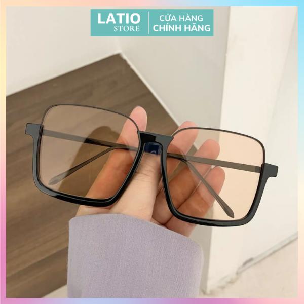 Giá bán Kính mát thời trang nữ nửa gọng kính vuông màu cam siêu đẹp 2021 LATIO KM14