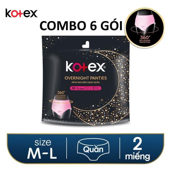 COMBO 6 gói băng vệ sinh Kotex Đêm dạng quần vừa vặn chống tràn 360 size ML (2 miếng/gói)X6